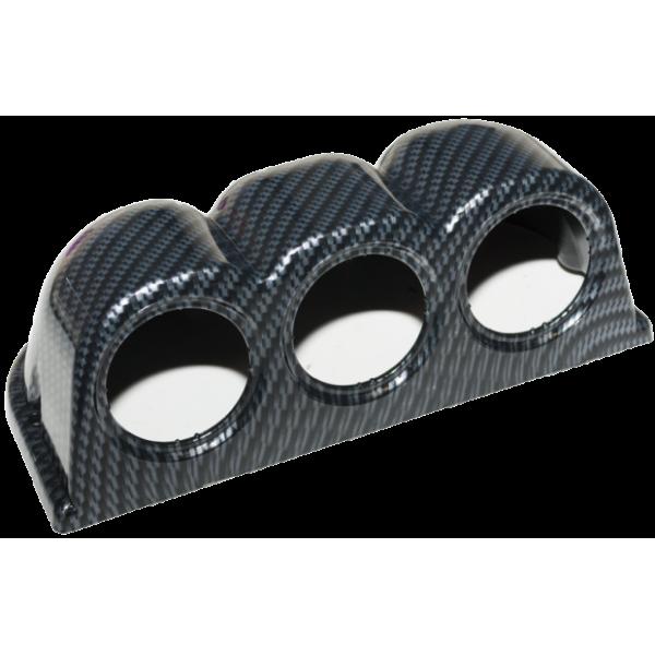 52mm 3 Hole Gauge Flat Mounting Pod - Black Carbon Look