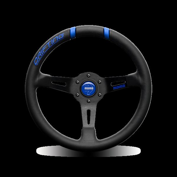 MOMO S/W Drifting - Black LTH Blue Inserts Ø330mm 90mm DISH