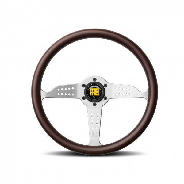 MOMO S/W Grand Prix - Mahogany Wood/Silver Spoke Ø350mm