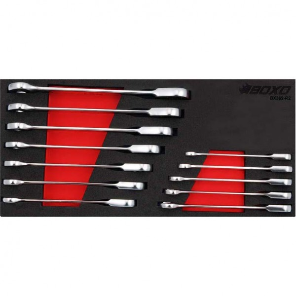 12 Piece Non Reversible Ratcheting Spanner Set In Foam