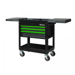 """34"""" 3 Drawer Slide Top Service Cart With Drawer Trim Pack Black Body (Select Trim Colour)"""