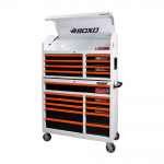 """41"""" 19 Drawer Toolbox Stack With Drawer Trim Pack White Body (Select Trim Colour)"""