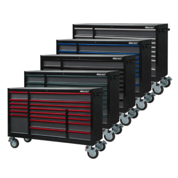 """72"""" 19 Drawer Triple Bank Roll Cabinet With Trim Pack Black Body (Select Trim Colour)"""