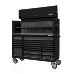 """72"""" 19 Drawer Roll Cabinet & Hutch With Trim Pack Black Body (Select Trim Colour)"""