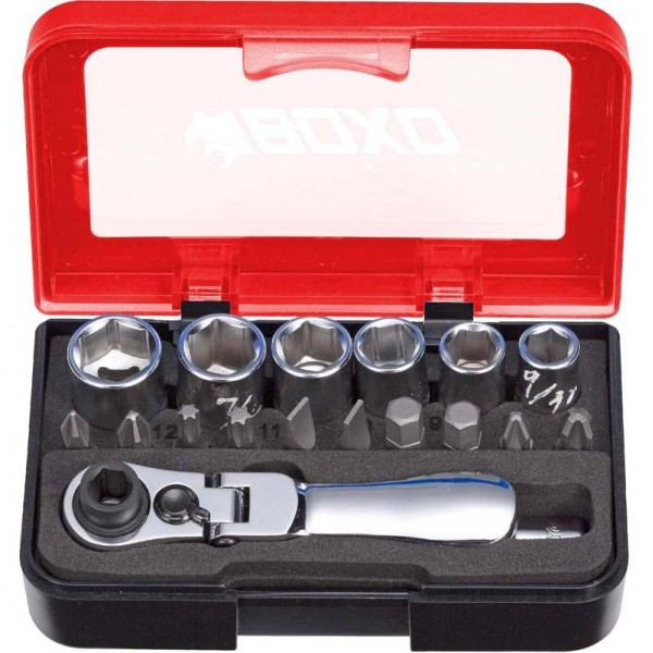 "1/4"" 18 Piece Socket Set With Flex Dual-Function Ratchet"
